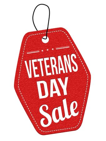 leather label: Veterans Day Sale red leather label or price tag on white background, vector illustration