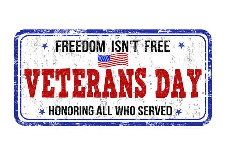 グランジ スタンプ本文内に記述された退役軍人の日、ベクトル イラスト  イラスト・ベクター素材