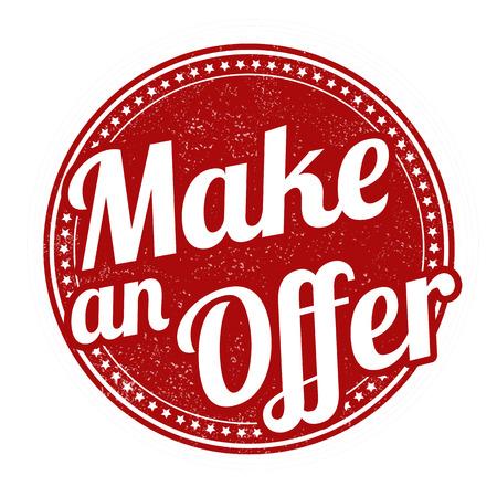 Make an offer grunge rubber stamp on white background, vector illustration