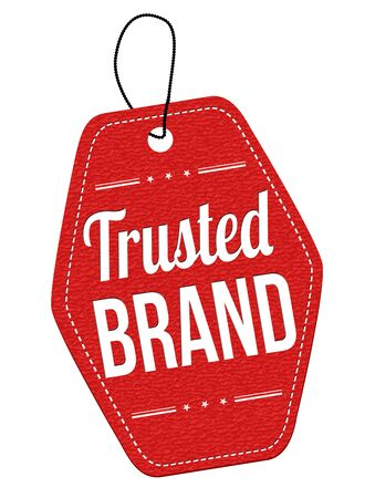 reliance: Trusted  brand red leather label or price tag on white background, vector illustration