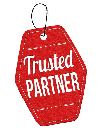 trusted: Trusted  partner red leather label or price tag on white background, vector illustration Illustration
