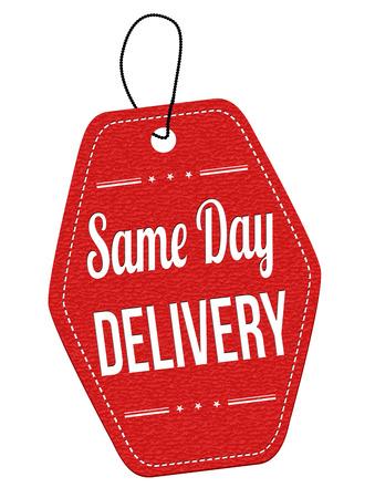 uno: La entrega el mismo día de la etiqueta de cuero rojo o etiqueta de precio en el fondo blanco, ilustración vectorial