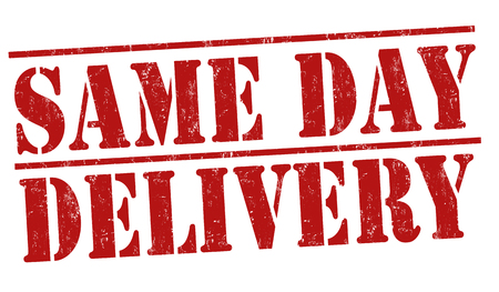 same: Same day delivery grunge rubber stamp on white background, vector illustration