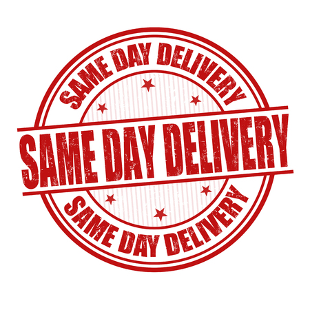 relocating: Same day delivery grunge rubber stamp on white background, vector illustration
