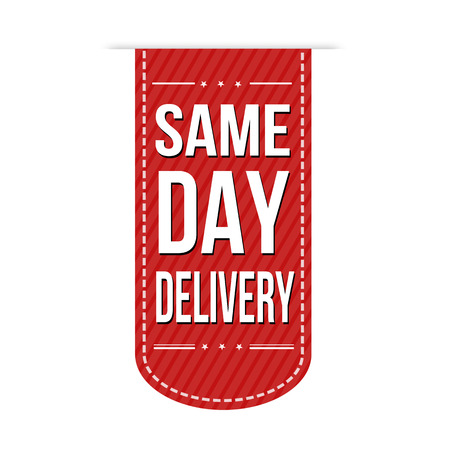 same: Same day delivery banner design over a white background, vector illustration