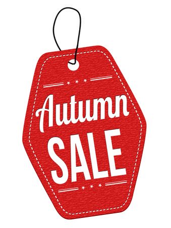 price tag: Autumn sale red leather label or price tag on white background, vector illustration Illustration