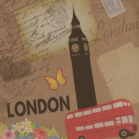 big ben tower: London vintage poster on nostalgic retro background with old post cards, letters and Big ben tower , vector illustration