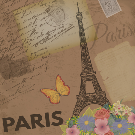 vintage postcard: Paris vintage poster on nostalgic retro background with old post cards, letters and Eiffel Tower, vector illustration