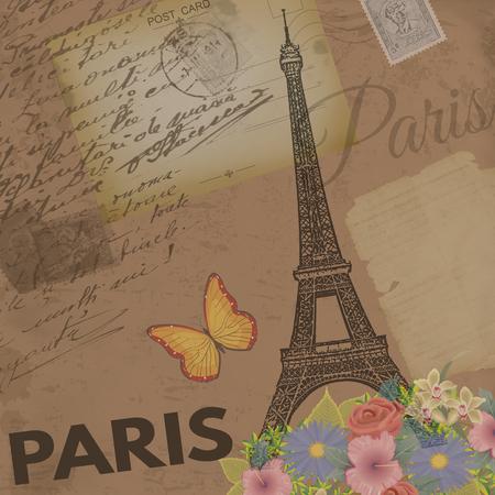 paris vintage: Poster del vintage de París en el fondo retro nostálgico con tarjetas de edad postales, cartas y Torre Eiffel, ilustración vectorial Vectores