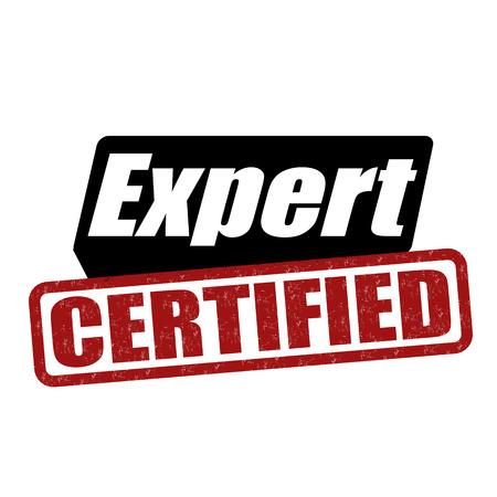 Expert certified grunge rubber stamp on white background, vector illustration Ilustração