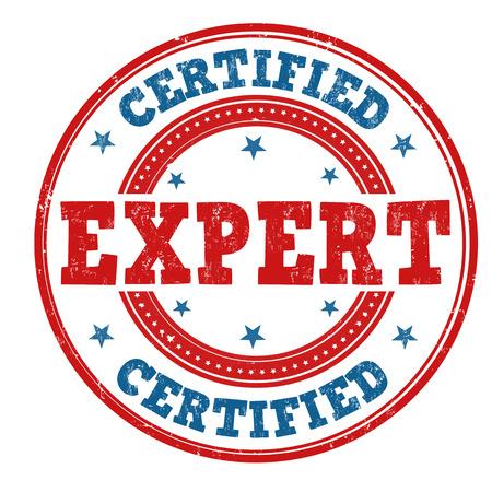 adept: Expert certified grunge rubber stamp on white background, vector illustration Illustration