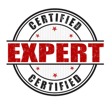 Expert certified grunge rubber stamp on white background, vector illustration Illustration