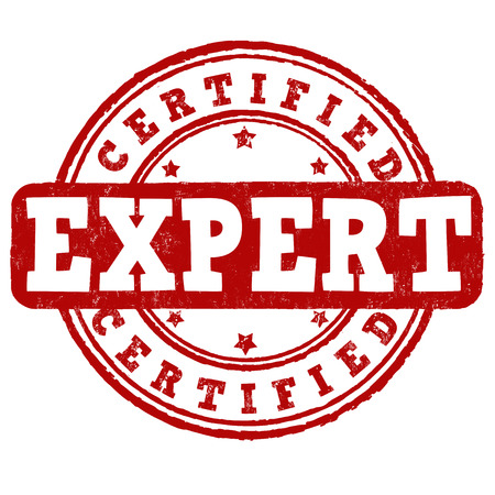 level: Expert certified grunge rubber stamp on white background, vector illustration Illustration