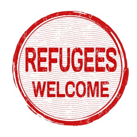immigrant: Refugees Welcome grunge rubber stamp on white background, vector illustration Stock Photo
