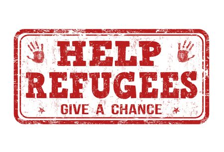 immigrant: Help Refugees grunge rubber stamp on white background, vector illustration