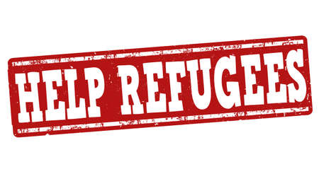 migrant: Help Refugees grunge rubber stamp on white background, vector illustration