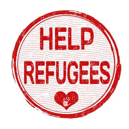 refugee: Help Refugees grunge rubber stamp on white background, vector illustration