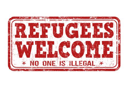 migrant: Refugees Welcome grunge rubber stamp on white background, vector illustration Stock Photo