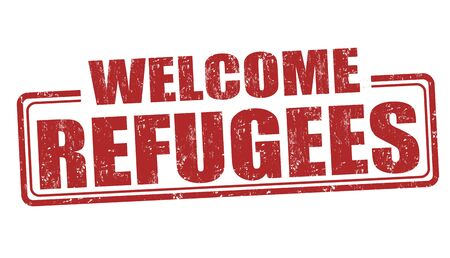 emigration and immigration: Refugees Welcome grunge rubber stamp on white background, vector illustration Stock Photo