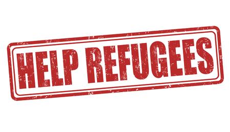 migrant: Help Refugees grunge rubber stamp on white background, vector illustration