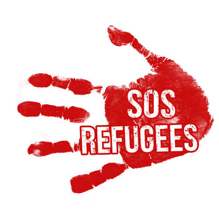 immigrant: Grunge ink hand with message SOS Refugees on white background, vector illustration
