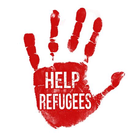 refugee: Grunge ink hand with message Help Refugees on white background, vector illustration Illustration