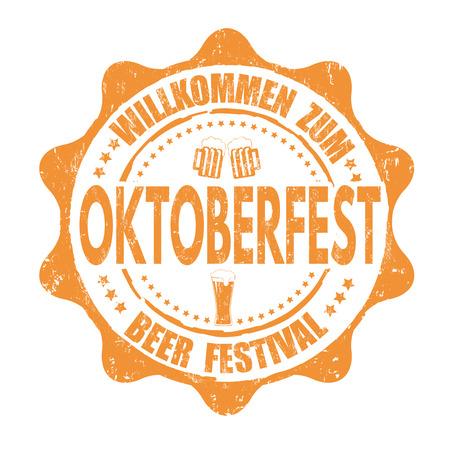 oktober: Oktoberfest grunge rubber stamp on white background, vector illustration
