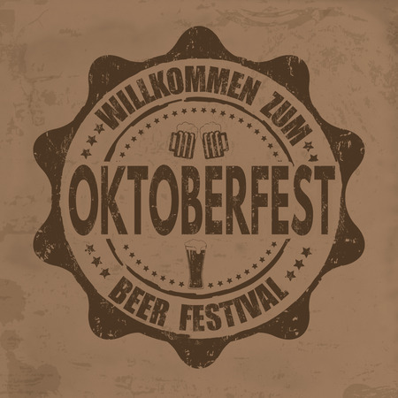 oktober: Oktoberfest grunge rubber stamp on retro background, vector illustration