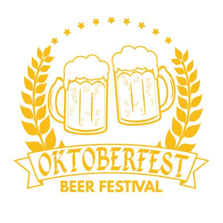 fest: Oktoberfest grunge rubber stamp on white background, vector illustration