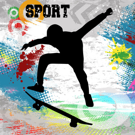 Skateboarder  jump on skateboard on abstract grunge background, vector illustration