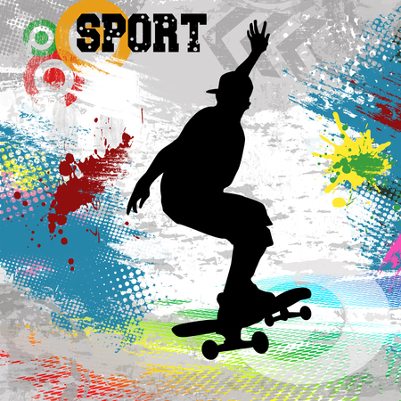 skateboarder: Skateboarder  jump on skateboard on abstract grunge background, vector illustration