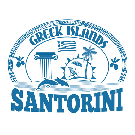 greek islands: Greek Islands, Santorini, stamp or label on white background, vector illustration Illustration