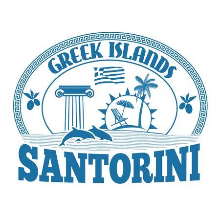 greek islands: Greek Islands, Santorini, stamp or label on white background, vector illustration Stock Photo