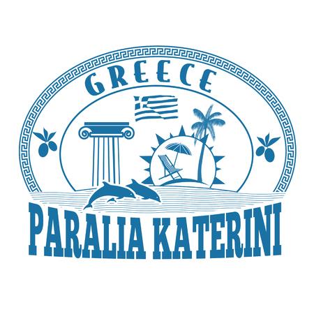 greece stamp: Paralia Katerini, Greece stamp or label on white background, vector illustration