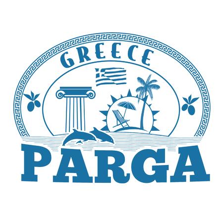 Parga, Greece stamp or label on white background, vector illustration Illustration