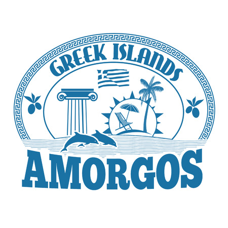 advertising column: Greek Islands, Amorgos, stamp or label on white background, vector illustration