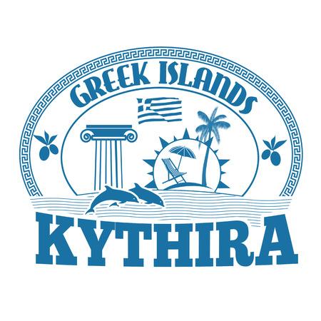 greek islands: Greek Islands, Kythira, stamp or label on white background, vector illustration