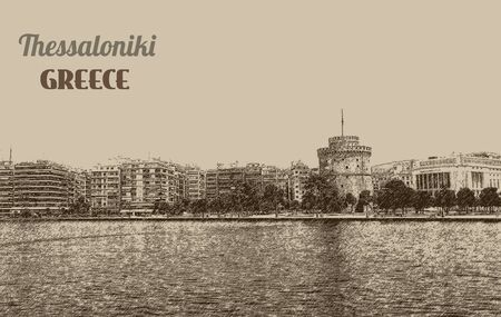 SEA  LANDSCAPE: The white tower at Thessaloniki city in Greece on retro background, vector illustration