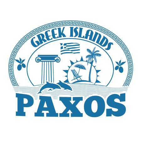 greek islands: Greek Islands, Paxos, stamp or label on white background, vector illustration