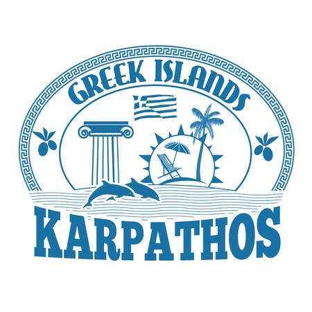 advertising column: Greek Islands, Karpathos, stamp or label on white background, vector illustration