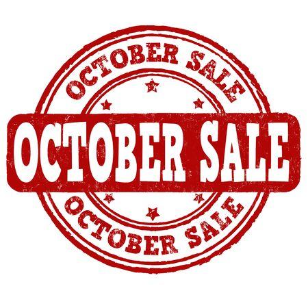 październik: October sale grunge rubber stamp on white background, vector illustration