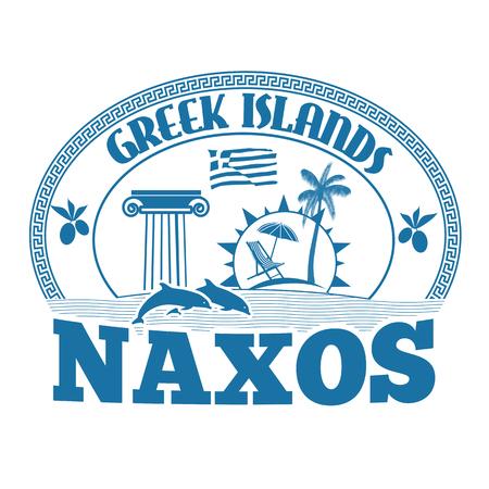 greek islands: Greek Islands, Naxos, stamp or label on white background, vector illustration Illustration
