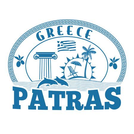 greece stamp: Patras, Greece stamp or label on white background, vector illustration
