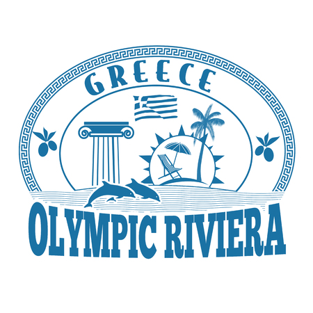 advertising column: Olympic Riviera, Greece stamp or label on white background, vector illustration Illustration