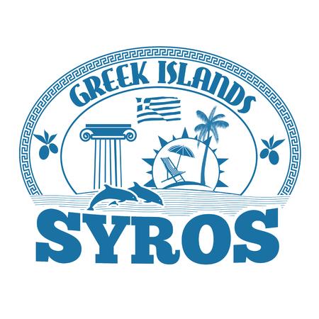 greek islands: Greek Islands, Syros, stamp or label on white background, vector illustration