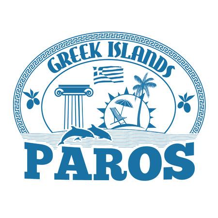 greek islands: Greek Islands, Paros, stamp or label on white background, vector illustration