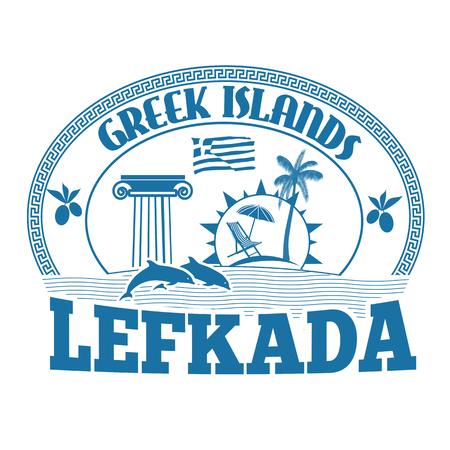 greek islands: Greek Islands, Lefkada, stamp or label on white background, vector illustration