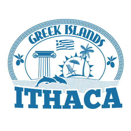 greek islands: Greek Islands, Ithaca, stamp or label on white background, vector illustration