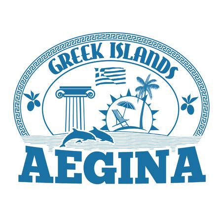 greek islands: Greek Islands, Aegina , stamp or label on white background, vector illustration