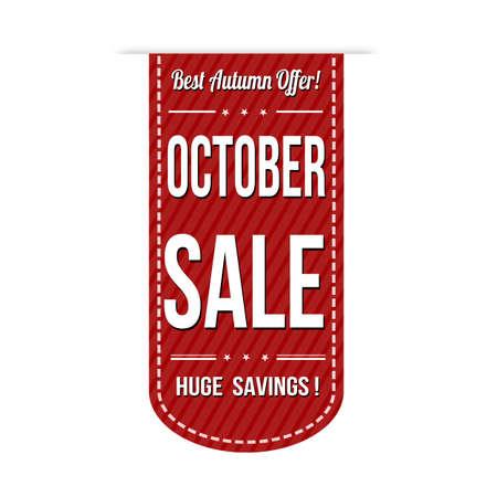 advertised: October sale banner design over a white background, vector illustration